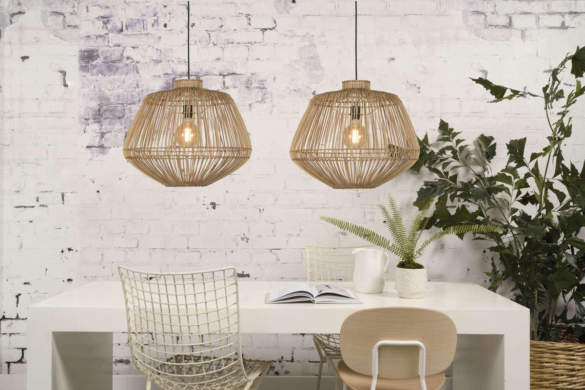Piękna aranżacja lamp Madagascar wykonanych z bambusa.