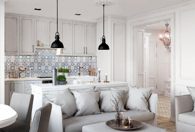 salon z kuchnia w stylu prowansalskim
